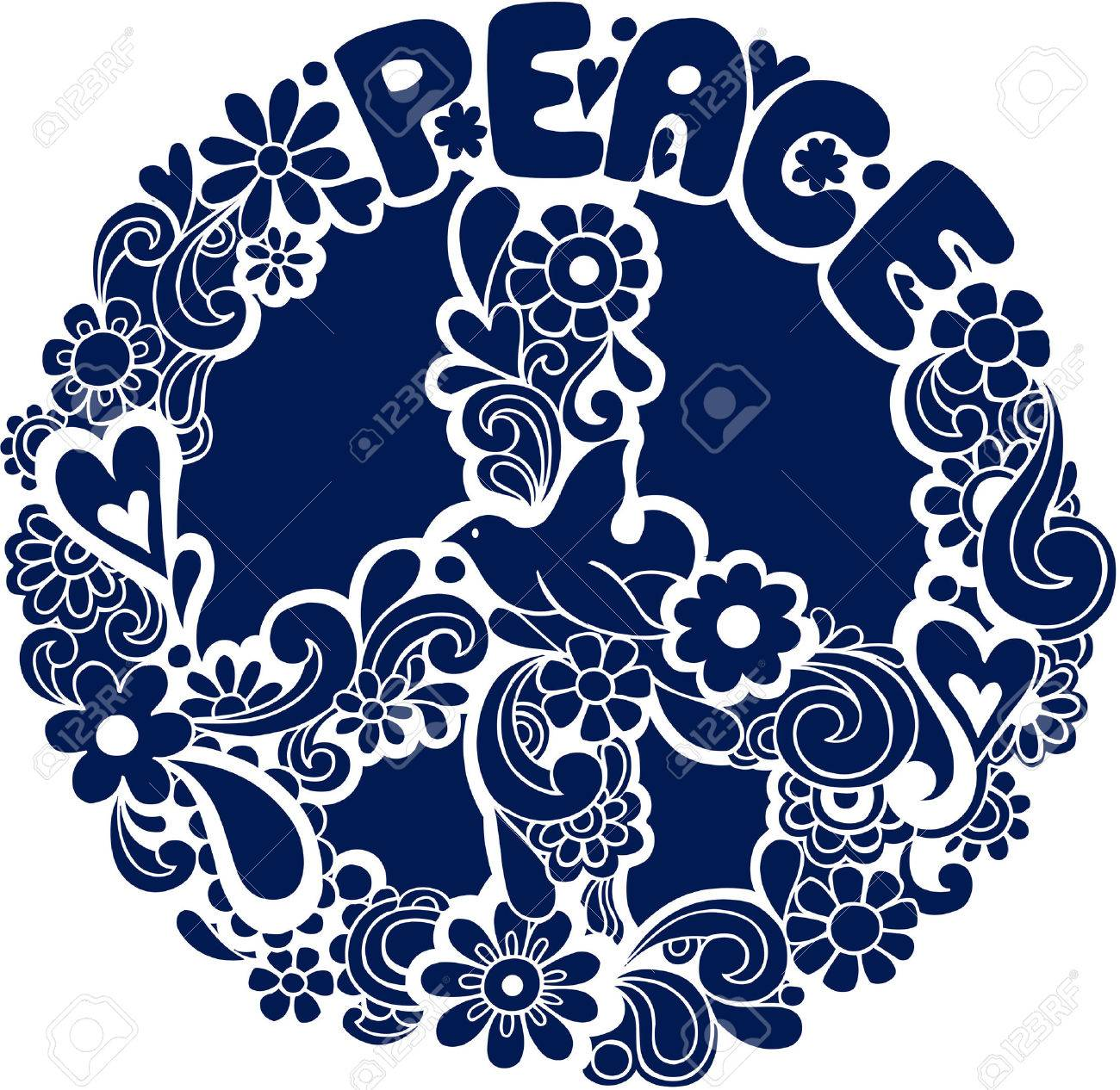 Psychedelic Peace Sign with Dove Silhouette Vector Illustration Stock Vector - 3668433
