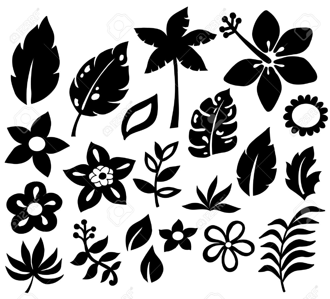 Tropical Flower And Leaf Vector Silhouettes Stock