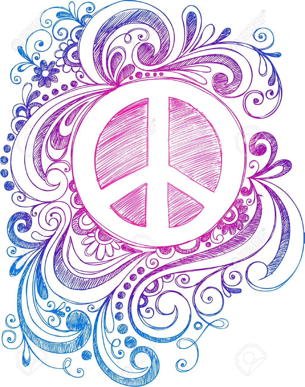 Peace Sign and Swirls Stock Vector - 16693311