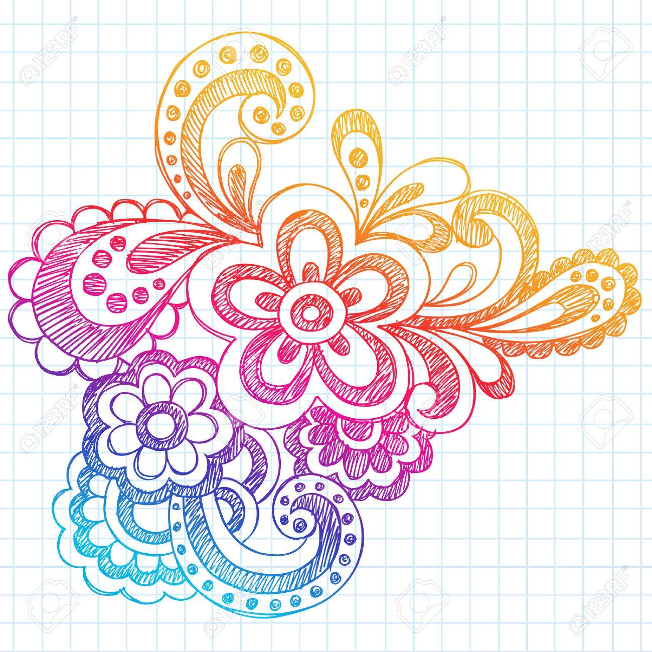 Hand Drawn Sketchy Abstract Paisley Henna Mehndi Style Notebook