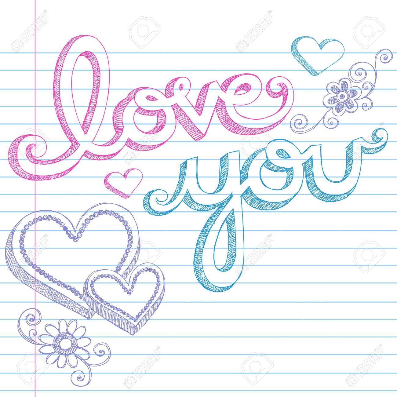 HandDrawn Valentines Day Love You Sketchy Notebook Doodles – Lined Paper with Drawing Box