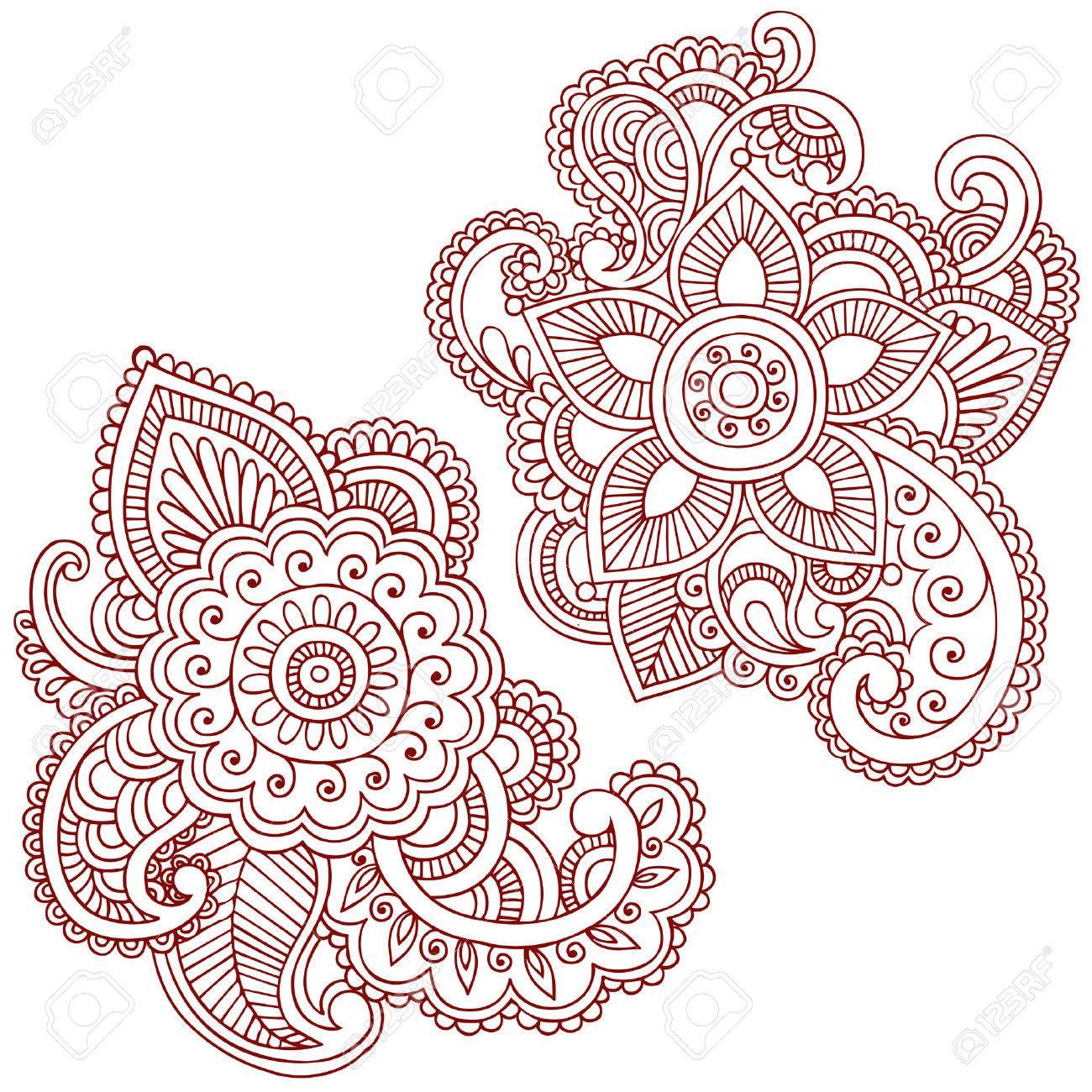 Hand-Drawn Abstract Henna (mehndi) Paisley Doodle Illustration Design Elements Stock Vector - 6807548