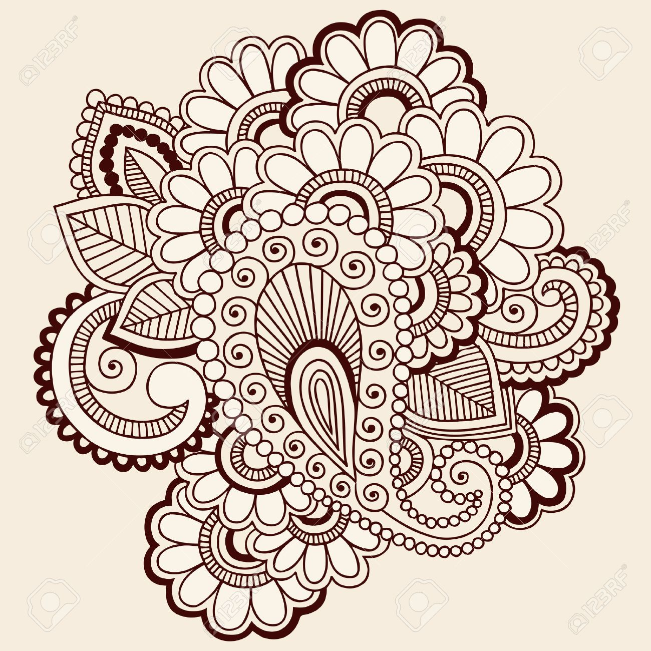 Handdrawn Intricate Abstract Flowers Mehndi Henna Tattoo Paisley Doodle  Stock Vector  6807576