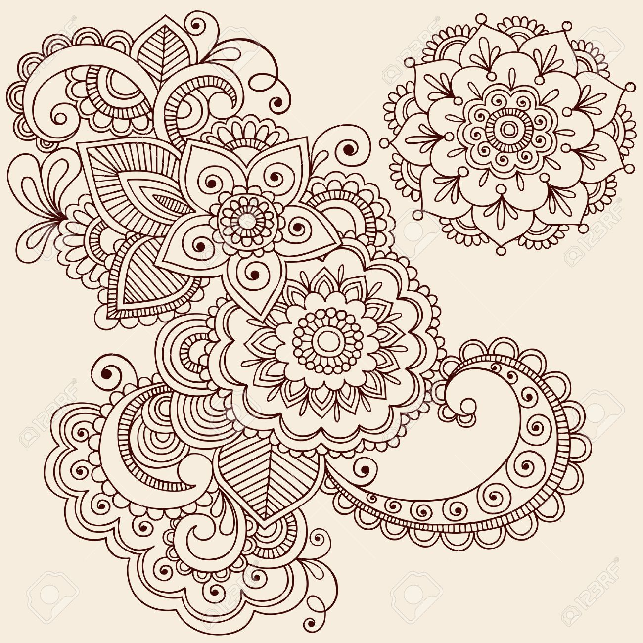 Hand-Drawn Intricate Abstract Flowers and Mandala Mehndi Henna Tattoo Paisley Doodle - Illustration Stock Vector - 6807572