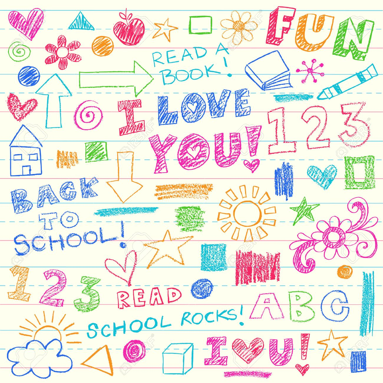 HandDrawn Kids Crayon Notebook Doodles Design Elements Set On – Design Paper for Writing