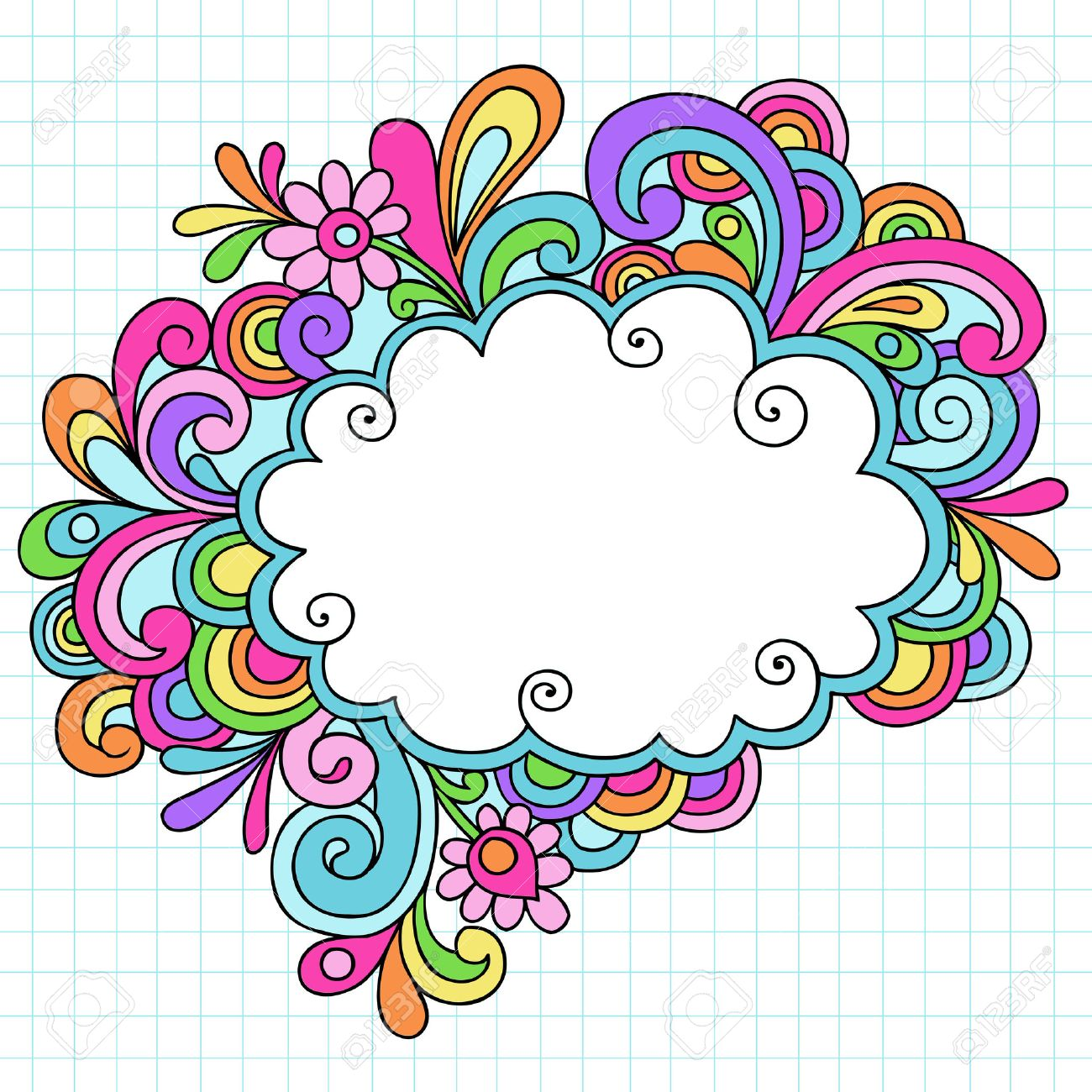hand drawn psychedelic groovy notebook doodle cloud speech bubble rh 123rf com Free Mountain Vector Free Vector Feather