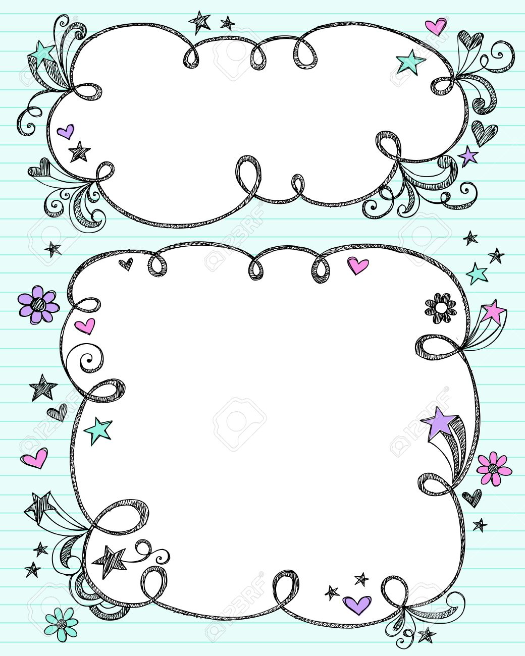 Hand-Drawn Sketchy Cloud Shaped Bubble Border Doodle Frames- Notebook Doodles on Blue Lined Paper Background- Vector Illustration Stock Vector - 8197687