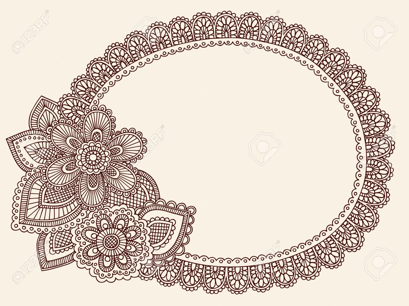 Hand-Drawn Lace Doilie Henna/Mehndi Paisley Flower Doodle Vector Illustration Frame Border Design Element Stock Vector - 8579823