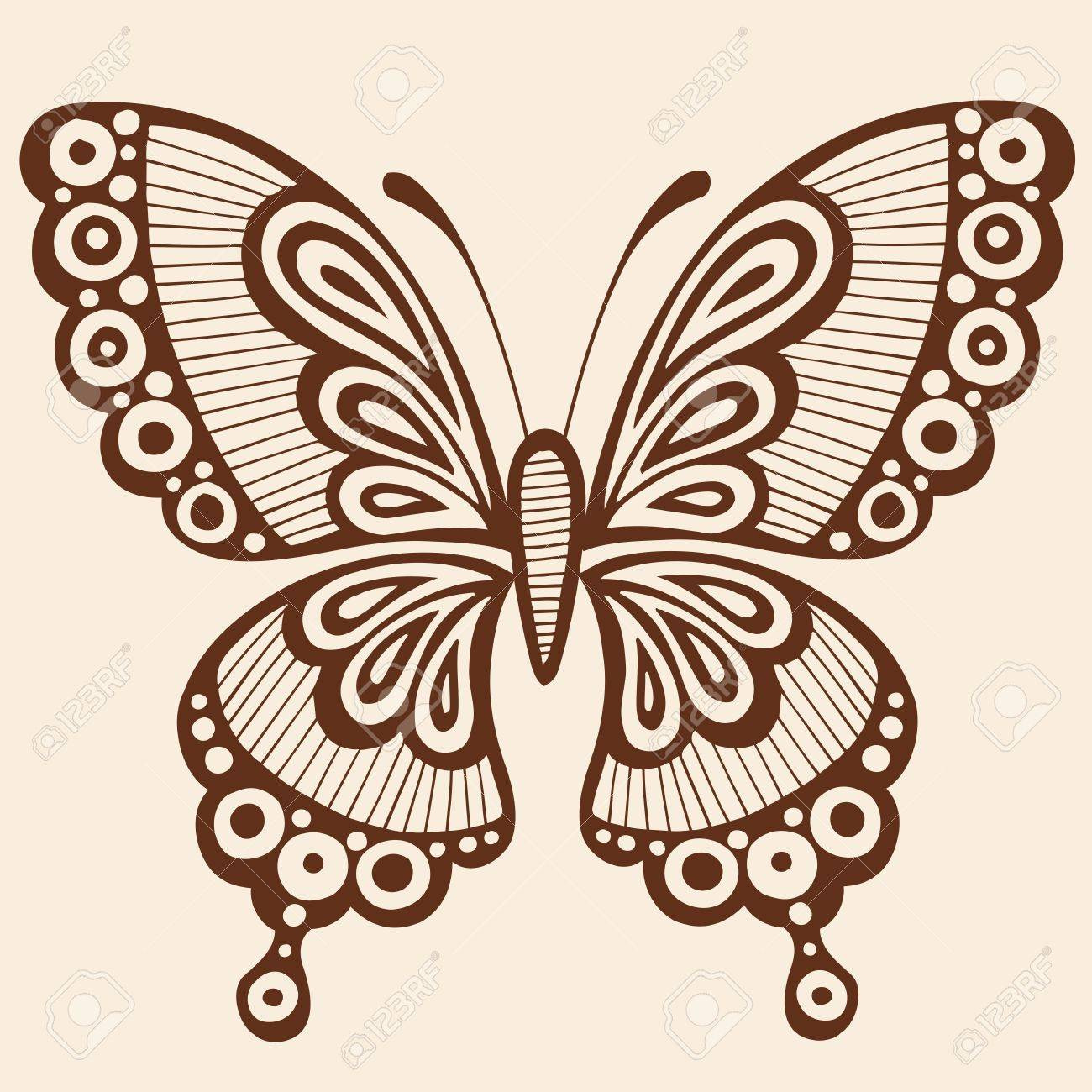 71ba242fc6633 Ornate Hand-Drawn Butterfly Silhouette Tattoo Vector Illustration Design Element  Stock Vector - 8579814