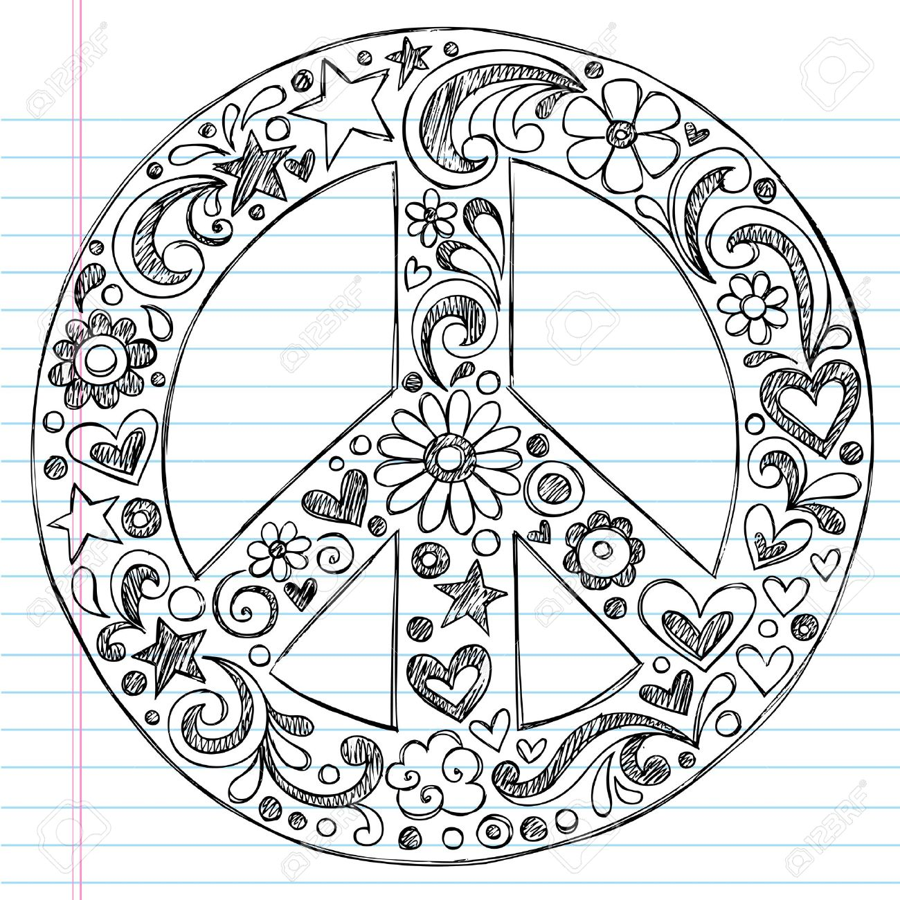 Hand Drawn Sketchy Peace Sign Doodle With Flowers Hearts And Stars On Lined Notebook Paper Backgroun