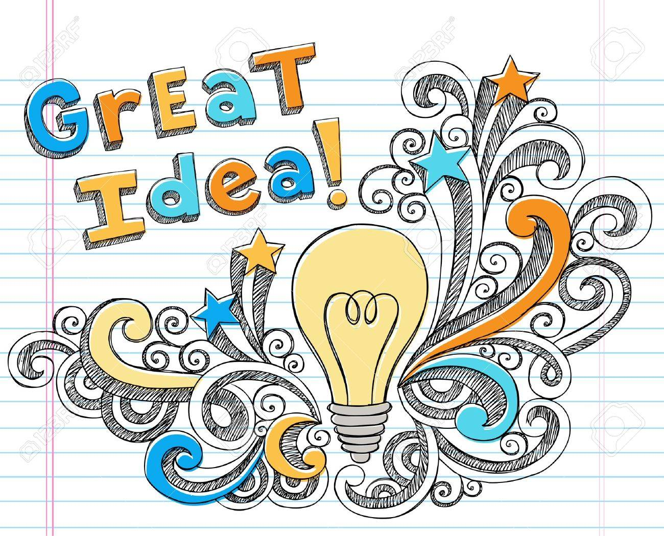 Great Idea Lettering with Lightbulb Hand-Drawn Back to School Starbursts and Swirls Sketchy Notebook Doodles Illustration Design Elements on Lined Sketchbook Paper Background - 10598806
