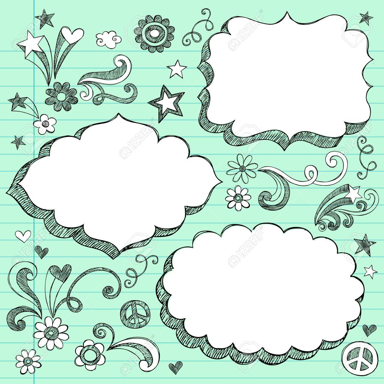 sketchy 3 d shaped ornate comic book style speech bubble frames