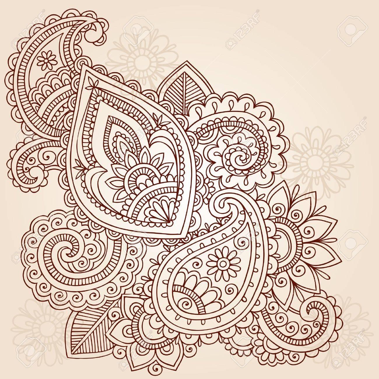 Abstract Henna Mehndi Paisley Hand-Drawn Doodle Vector Illustration Design Elements Stock Vector - 11553504