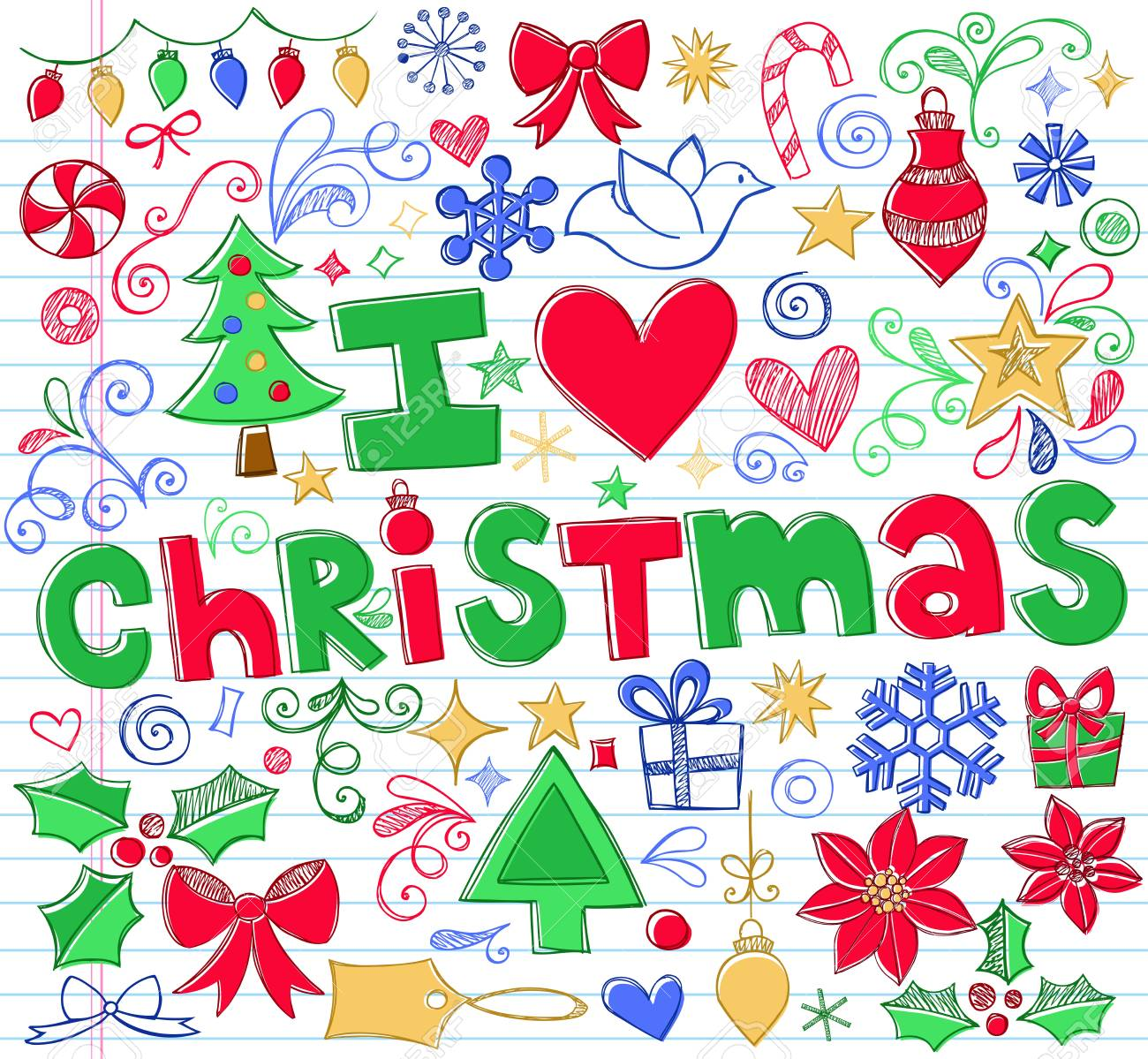 I Love Christmas.Hand Drawn I Love Christmas Sketchy Notebook Doodles Vector