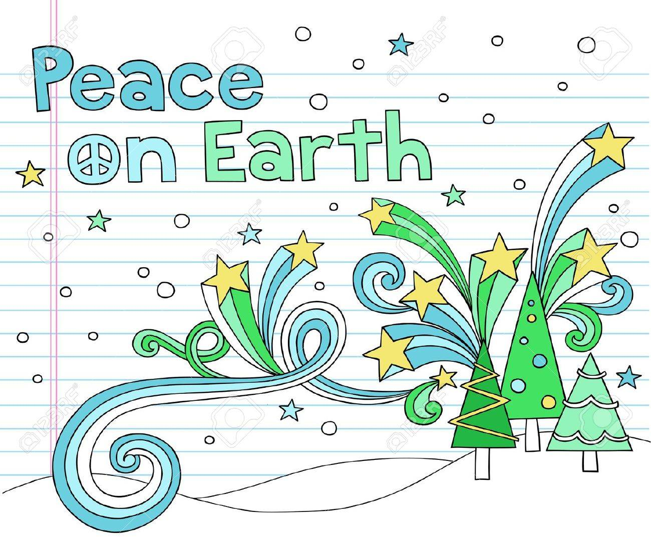 Peace on Earth Christmas Tree Notebook Doodles with Stars and Swirls- Hand-Drawn Vector Illustration Design Elements on Lined Sketchbook Paper Background Stock Vector - 11553514