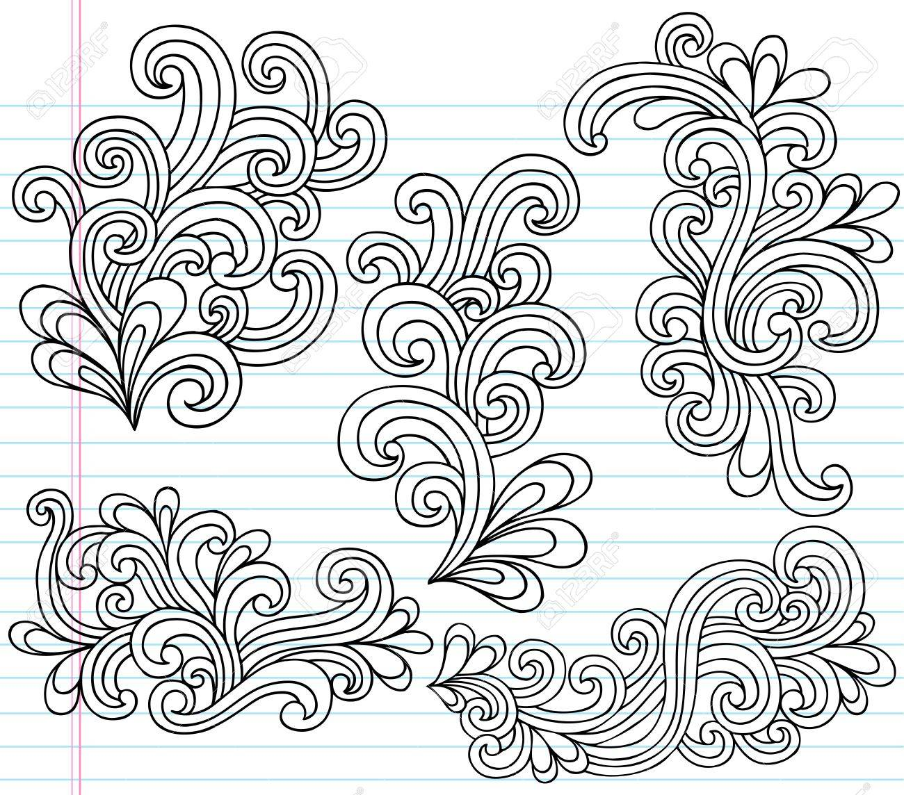 Notebook Doodle Swirly Vector Illustration Design Elements Stock Vector - 11792477