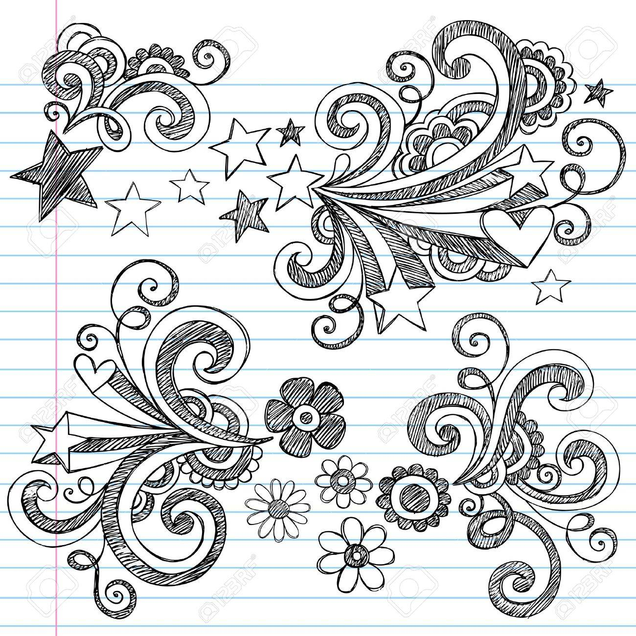 Hand-Drawn Back to School Stars and Flowers Sketchy Notebook Doodles Illustration Design Elements on Lined Sketchbook Paper Background Stock Vector - 12004333