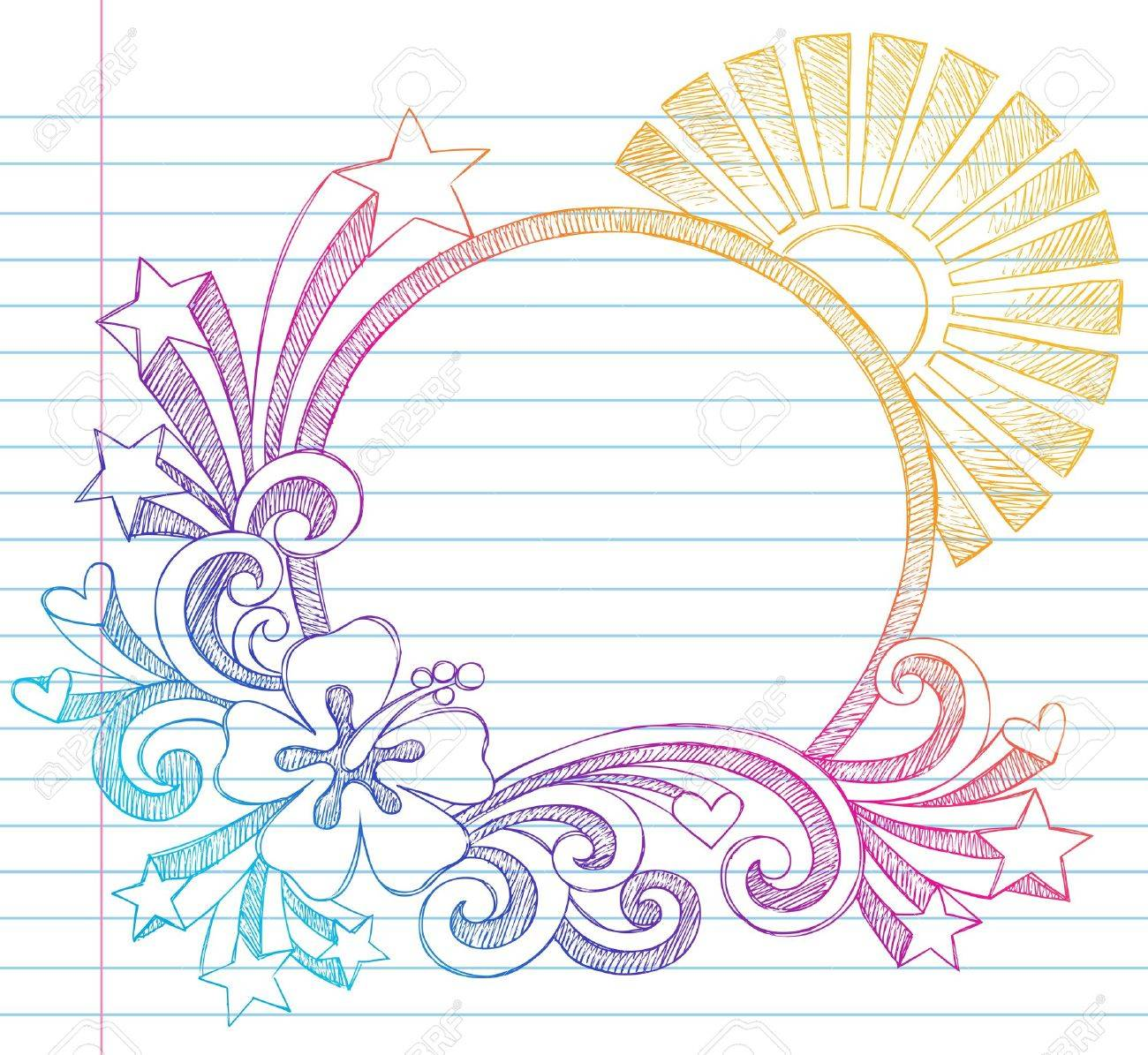 Summer Sun and Hibiscus Tropical Beach Border Frame Sketchy Notebook Doodles Illustration on Lined Sketchbook Paper Background Stock Vector - 12035452