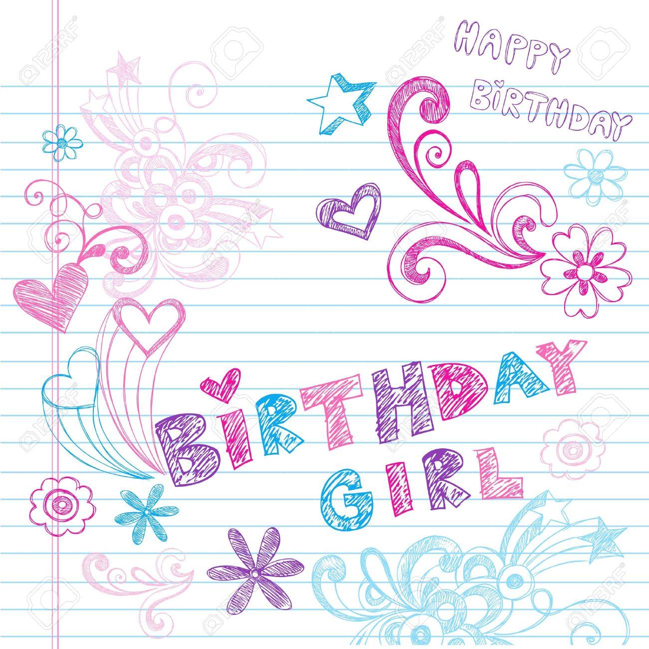Happy Birthday Party Sketchy Back To School HandDrawn Notebook