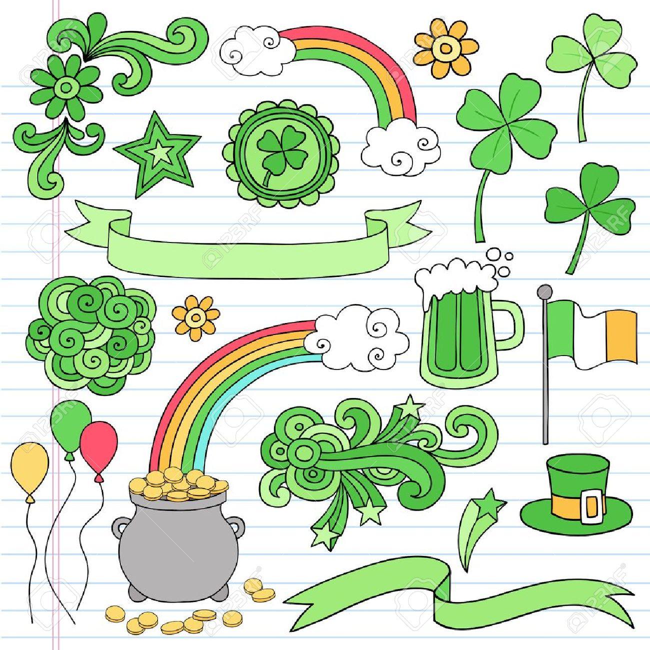St Patricks Day Icon Set Notebook Doodles Vector Illustration Design Elements on Lined Sketchbook Paper Background Stock Vector - 12411871