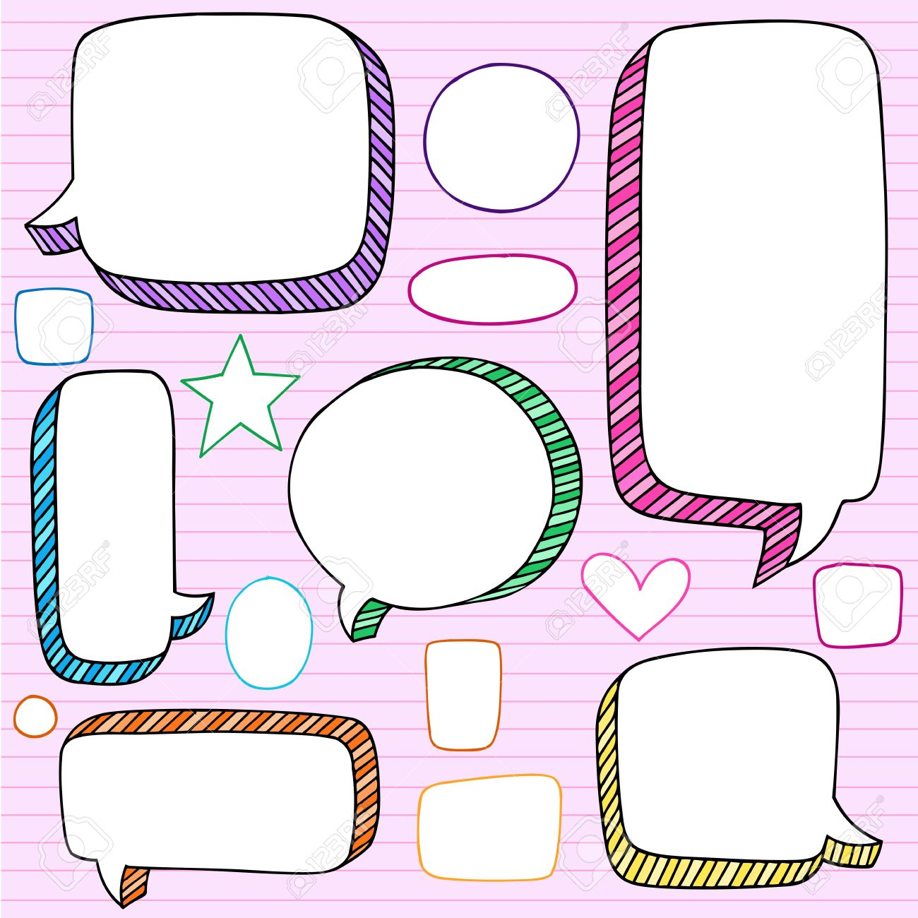 speech bubble frames notebook doodles back to school hand drawn