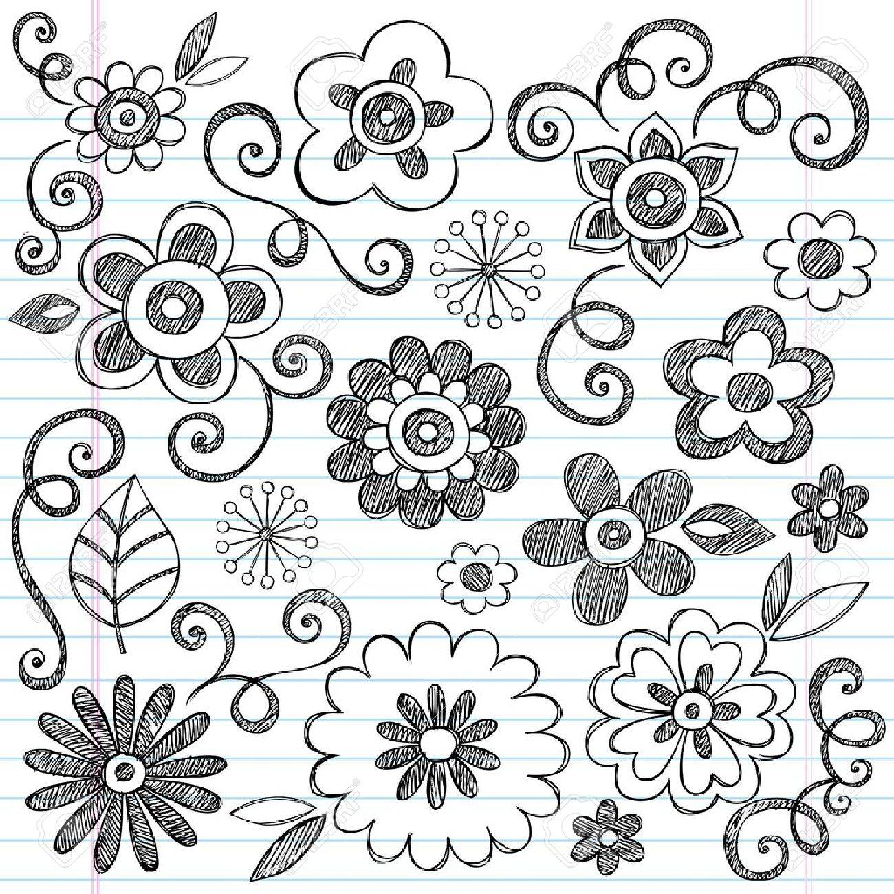 Flowers Sketchy Doodles Hand-Drawn Back to School Notebook Vector Illustration Design Elements on Lined Sketchbook Paper Background Stock Vector - 12496341