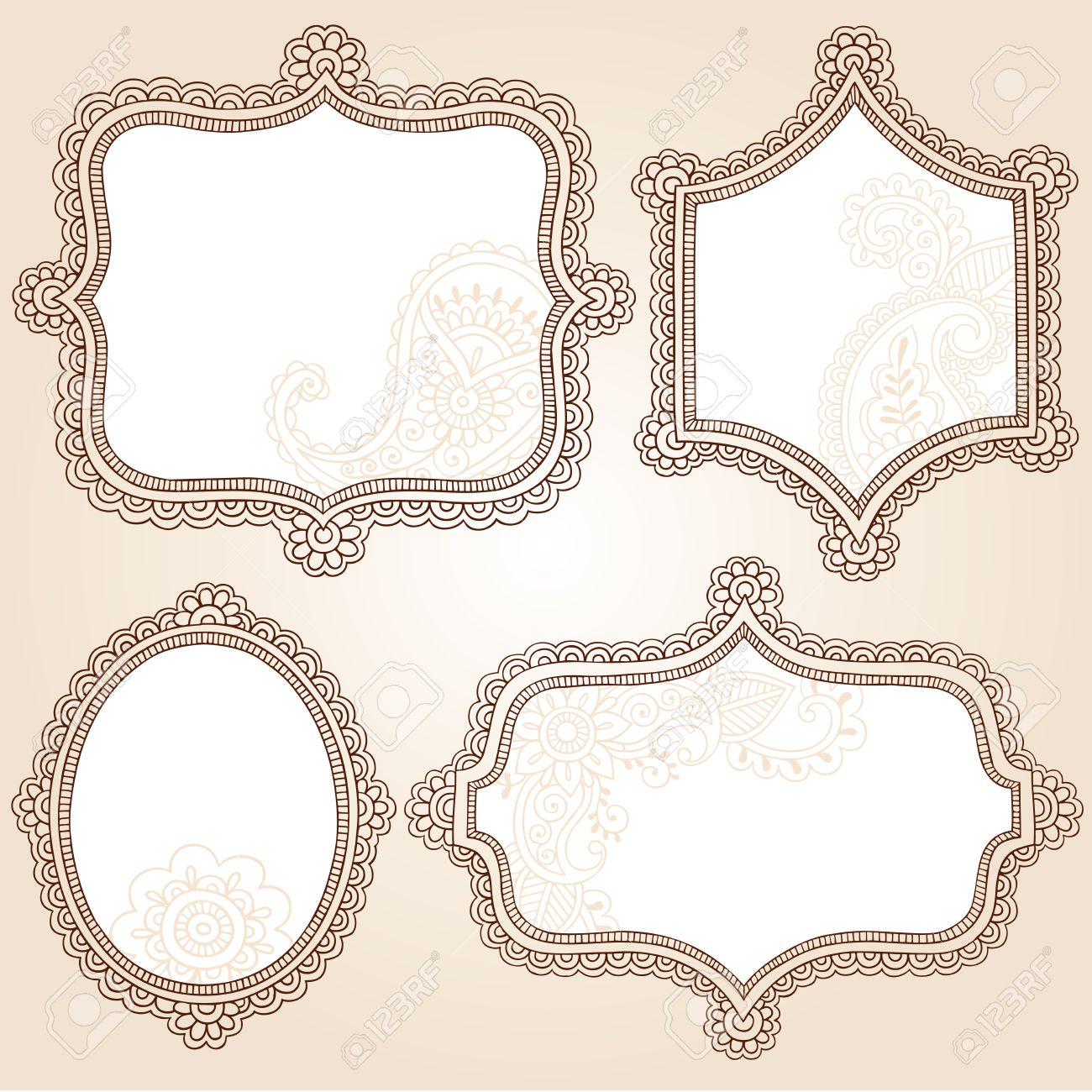 Henna Vintage Frames Mehndi Doodles Paisley Design Elements Set- Vector Illustration Stock Vector - 12843782