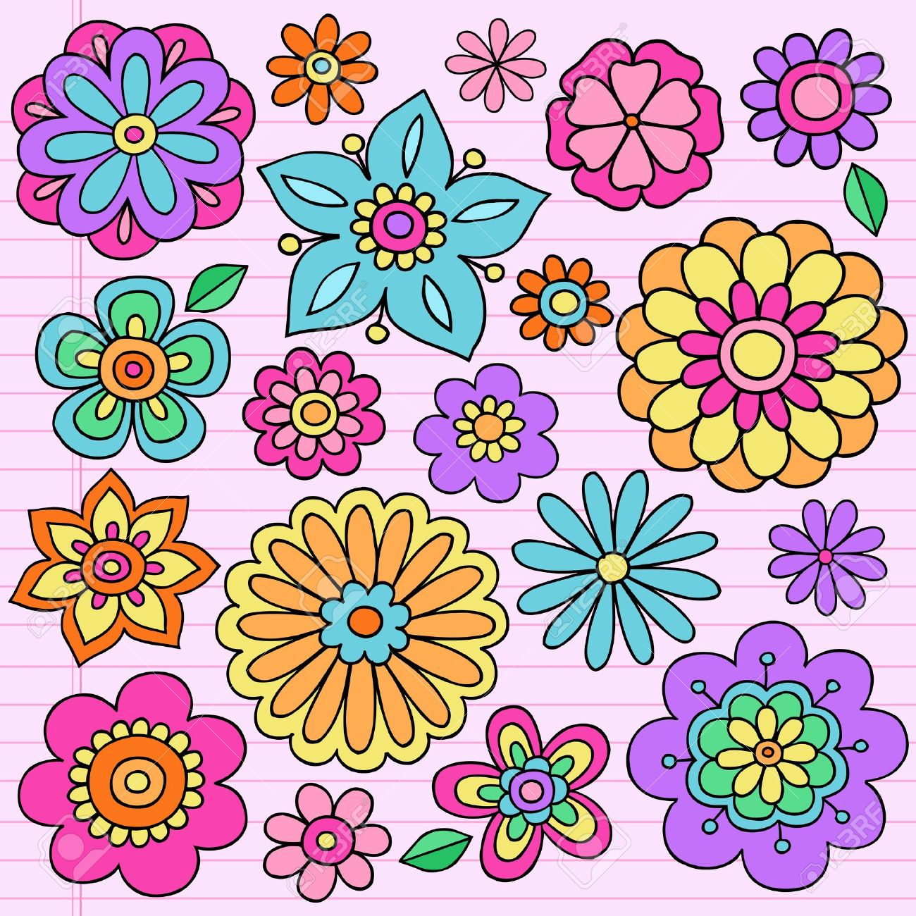 Flower power groovy psychedelic hand drawn notebook doodle design flower power groovy psychedelic hand drawn notebook doodle design elements set on lined sketchbook paper background mightylinksfo