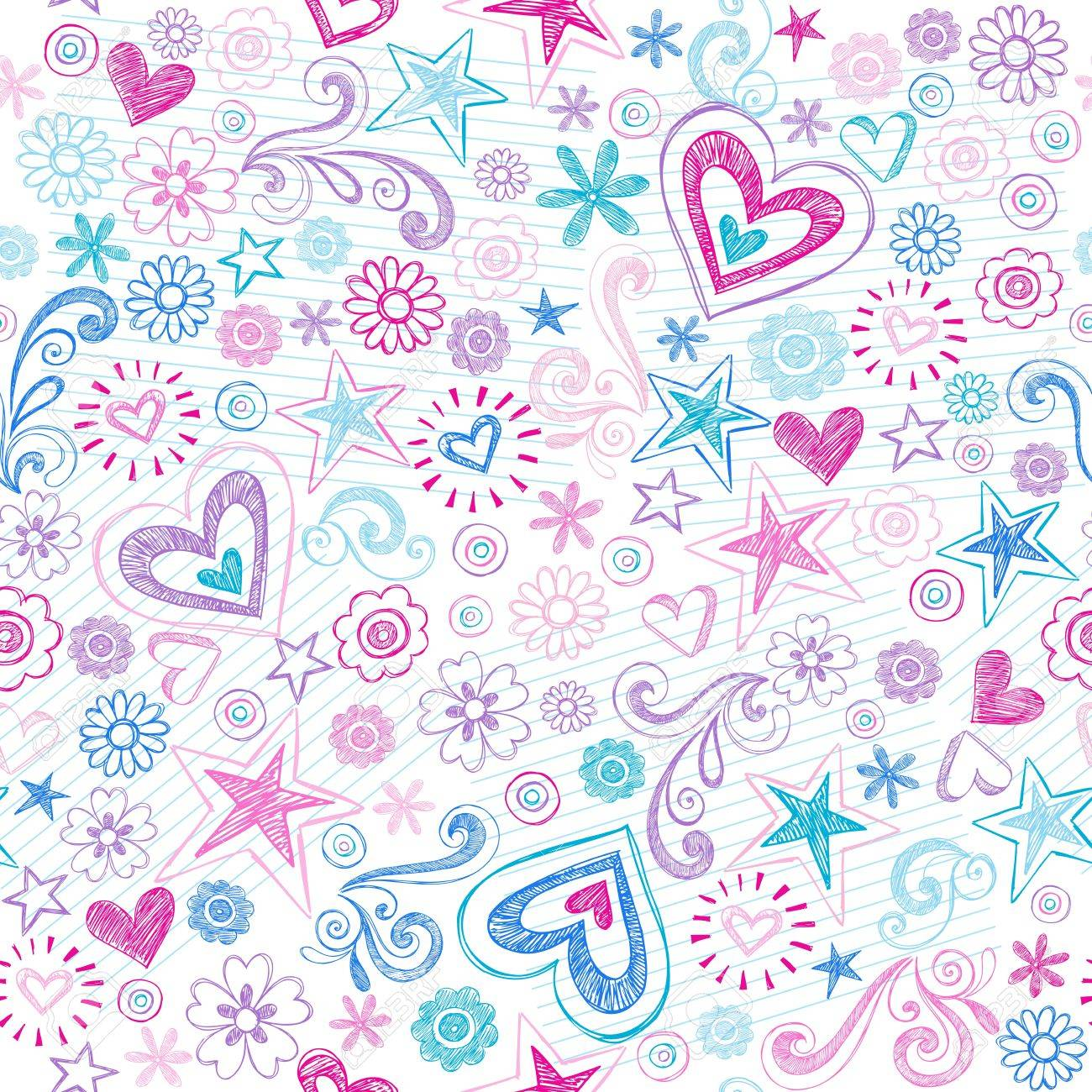 Seamless Pattern Hearts and Stars Back to School Sketchy Notebook Doodle Design- Hand-Drawn Vector Illustration Background Stock Vector - 13383861