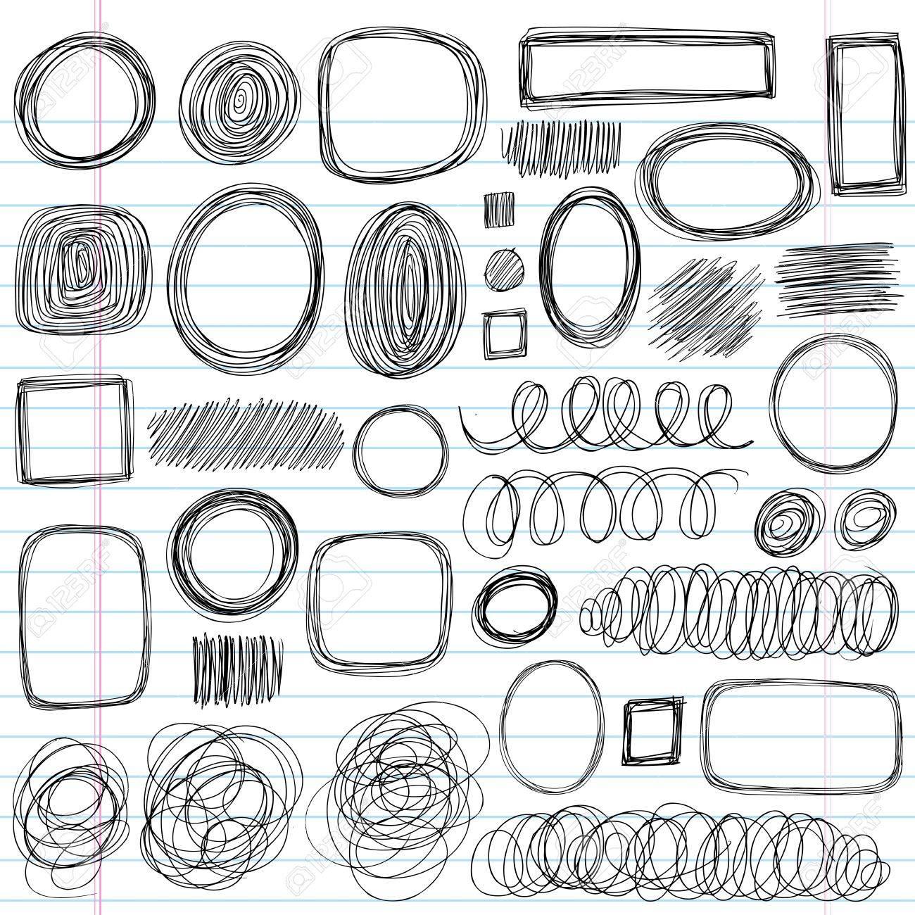 Scribble Doodles Sketchy Back to School Notebook Vector Illustration Design Elements on Lined Sketchbook Paper Background Stock Vector - 13564692