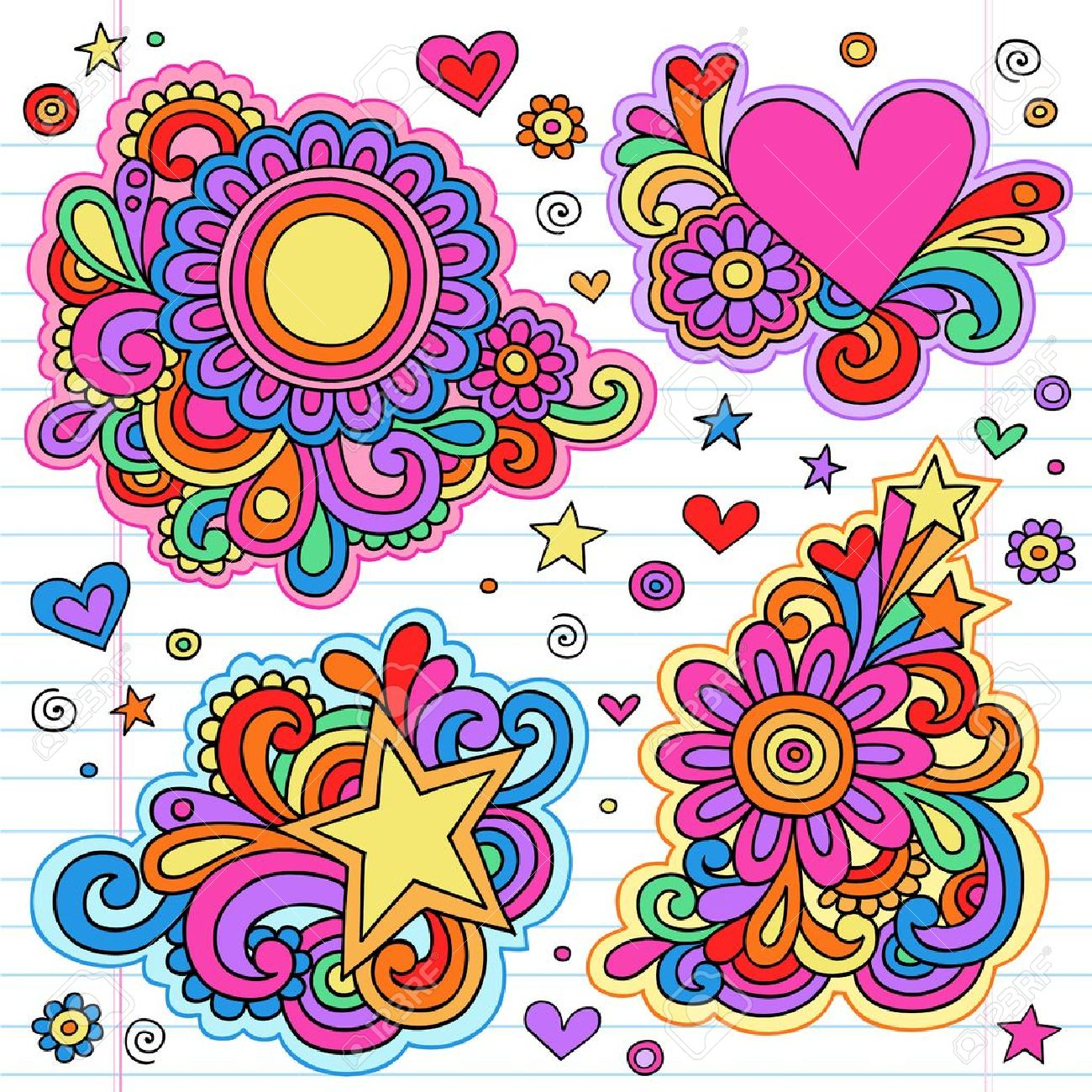 Groovy Psychedelic Doodles Hand Drawn Notebook Doodle Design Elements on Lined Sketchbook Paper Background Stock Vector - 14050943