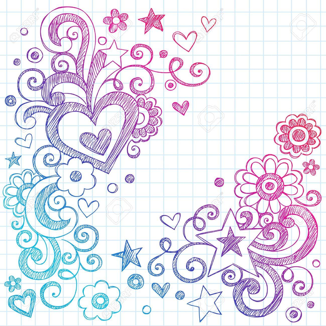 valentine s day love hearts sketchy notebook doodles design elements
