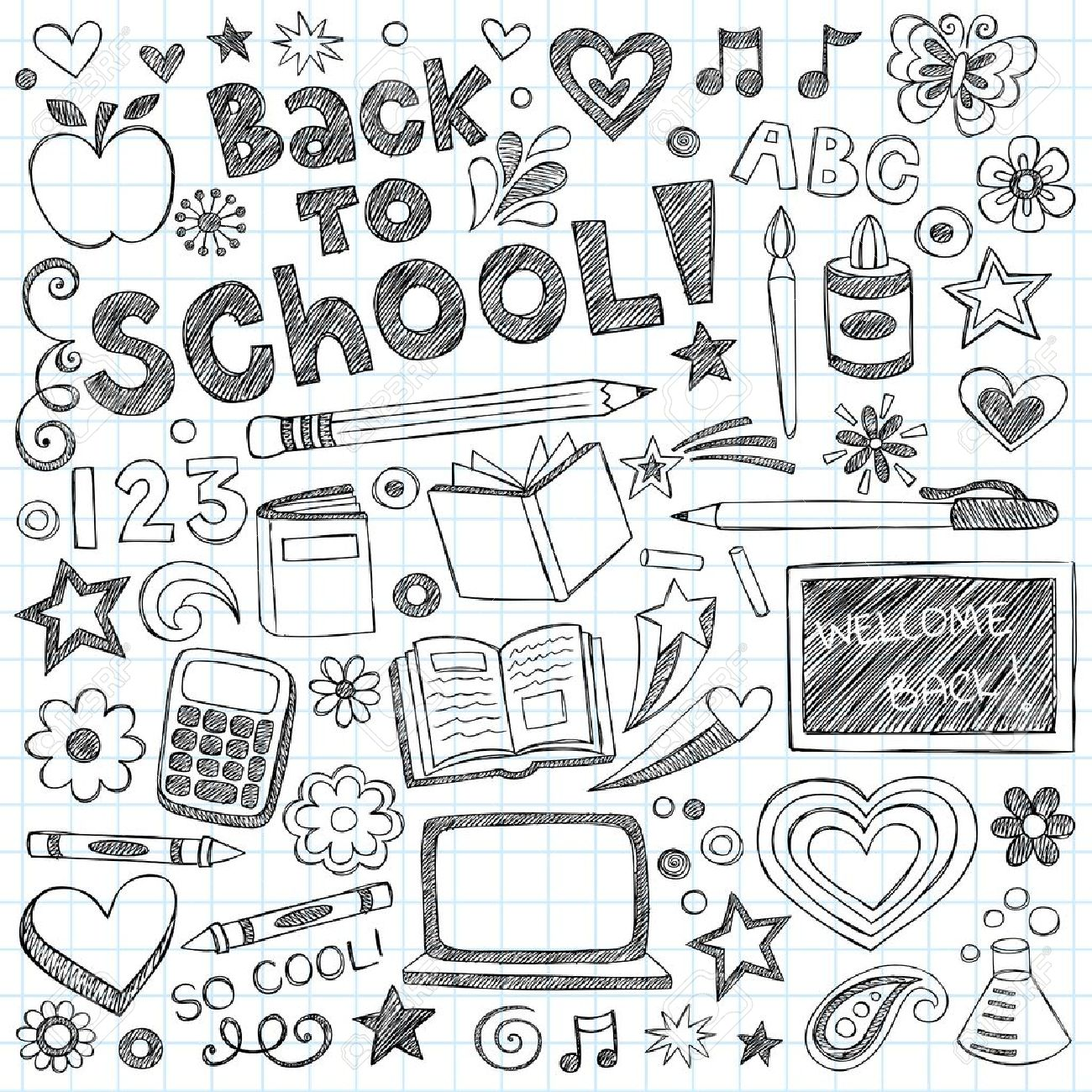 Back to School Supplies Sketchy Notebook Doodles with Lettering, Shooting Stars, and Swirls- Hand-Drawn Vector Illustration Design Elements on Lined Sketchbook Paper Background Stock Vector - 14397852