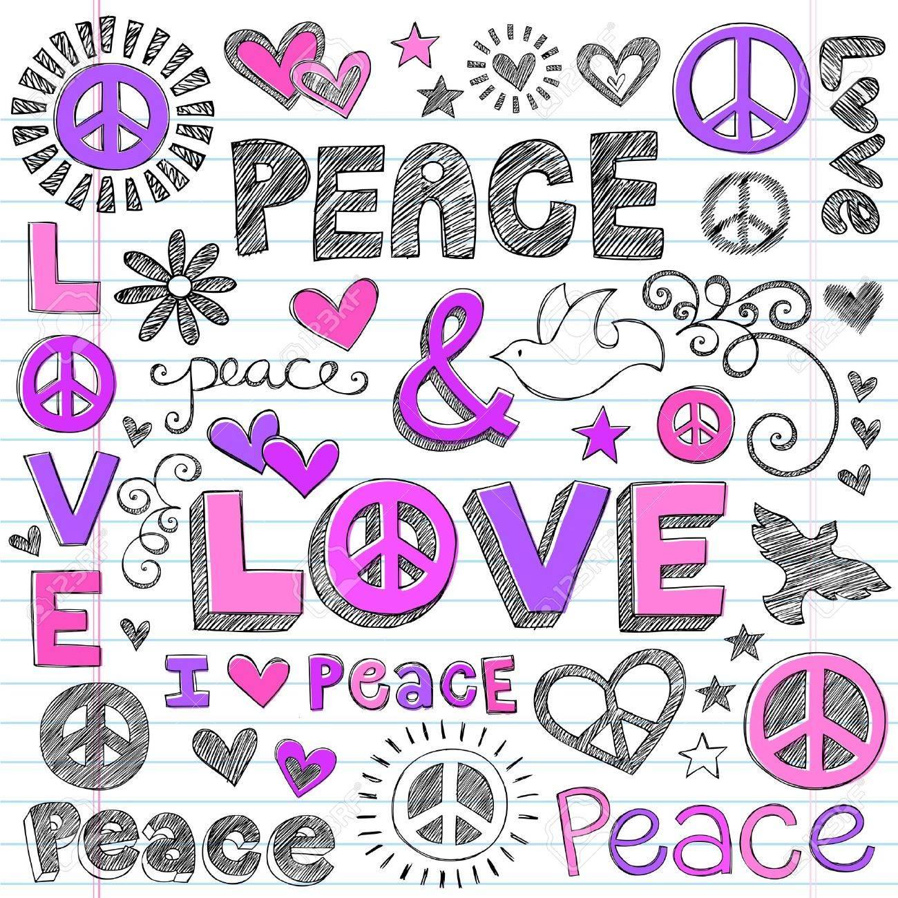 Peace & Love Sketchy Notebook Doodles Design Elements on Lined Sketchbook Paper Background- Vector Illustration Stock Vector - 14481547