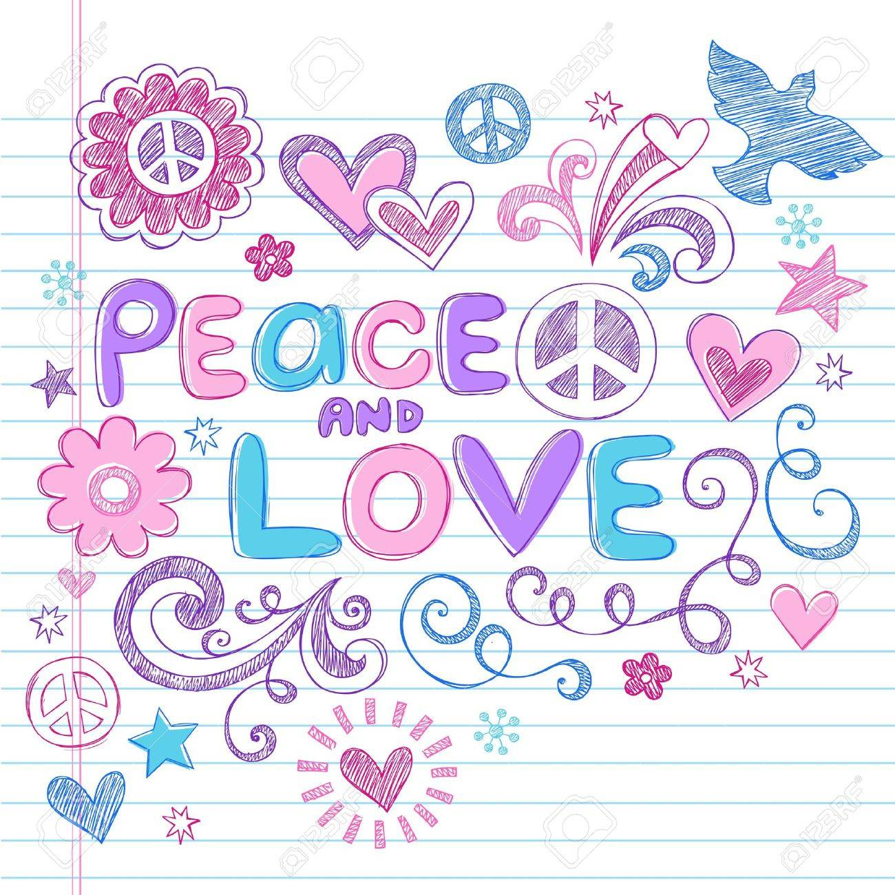 Peace   Love Sketchy Notebook Doodles Design Elements on Lined Sketchbook Paper Background- Vector Illustration Stock Vector - 14481548