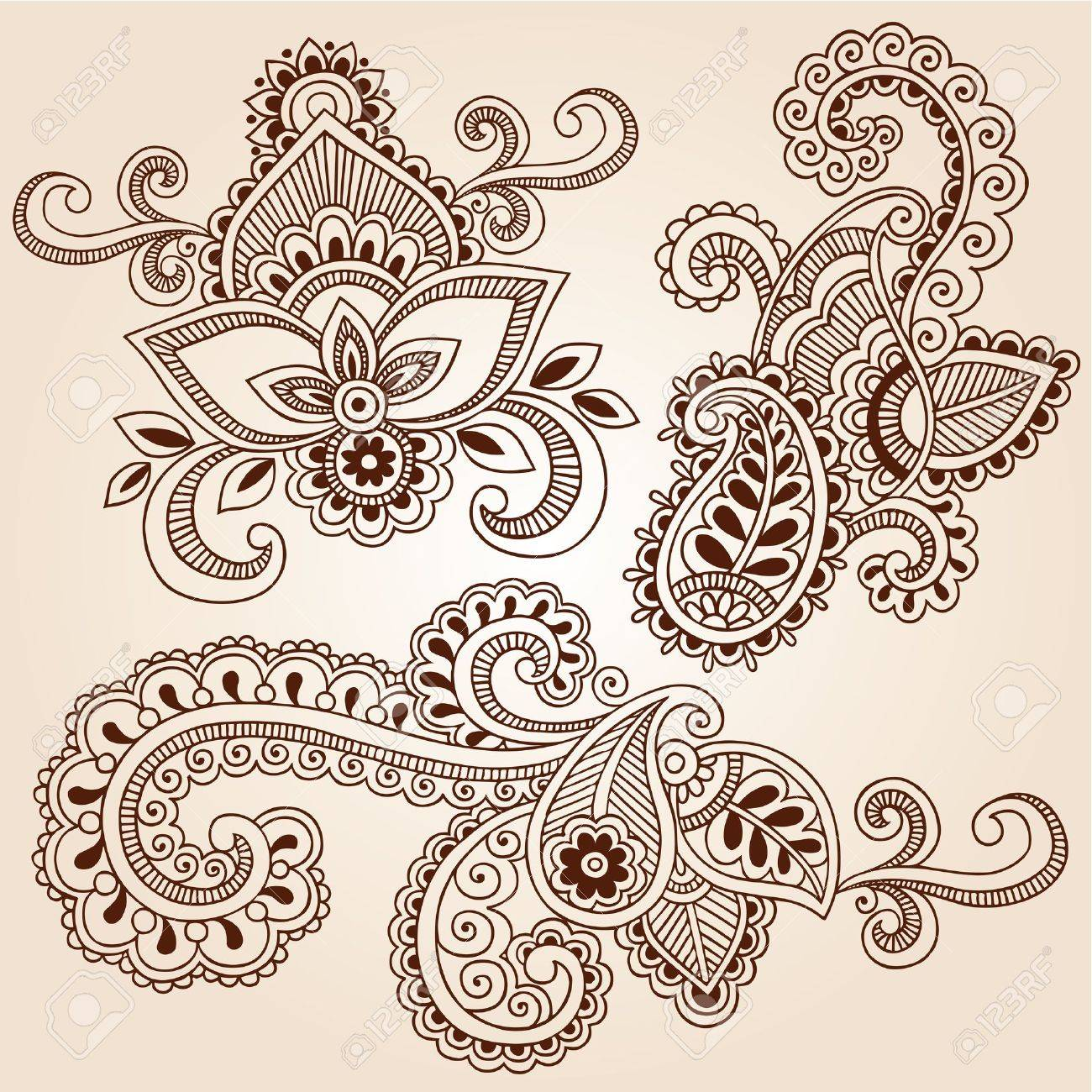 Hand-Drawn Henna Paisley Flowers Mehndi Doodles Abstract Floral Vector Illustration Design Elements Stock Vector - 14568416
