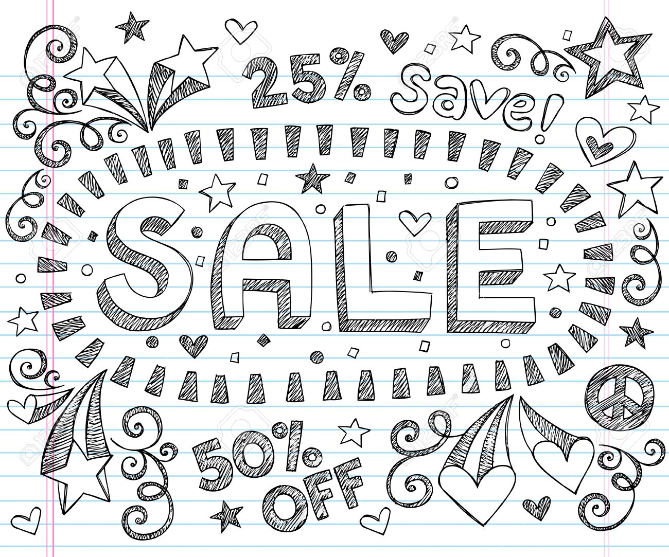 Sale Sketchy Notebook Doodles Discount 50  Off Shopping Hand-Drawn Illustration Design Elements on Lined Sketchbook Paper Background Stock Vector - 14733862