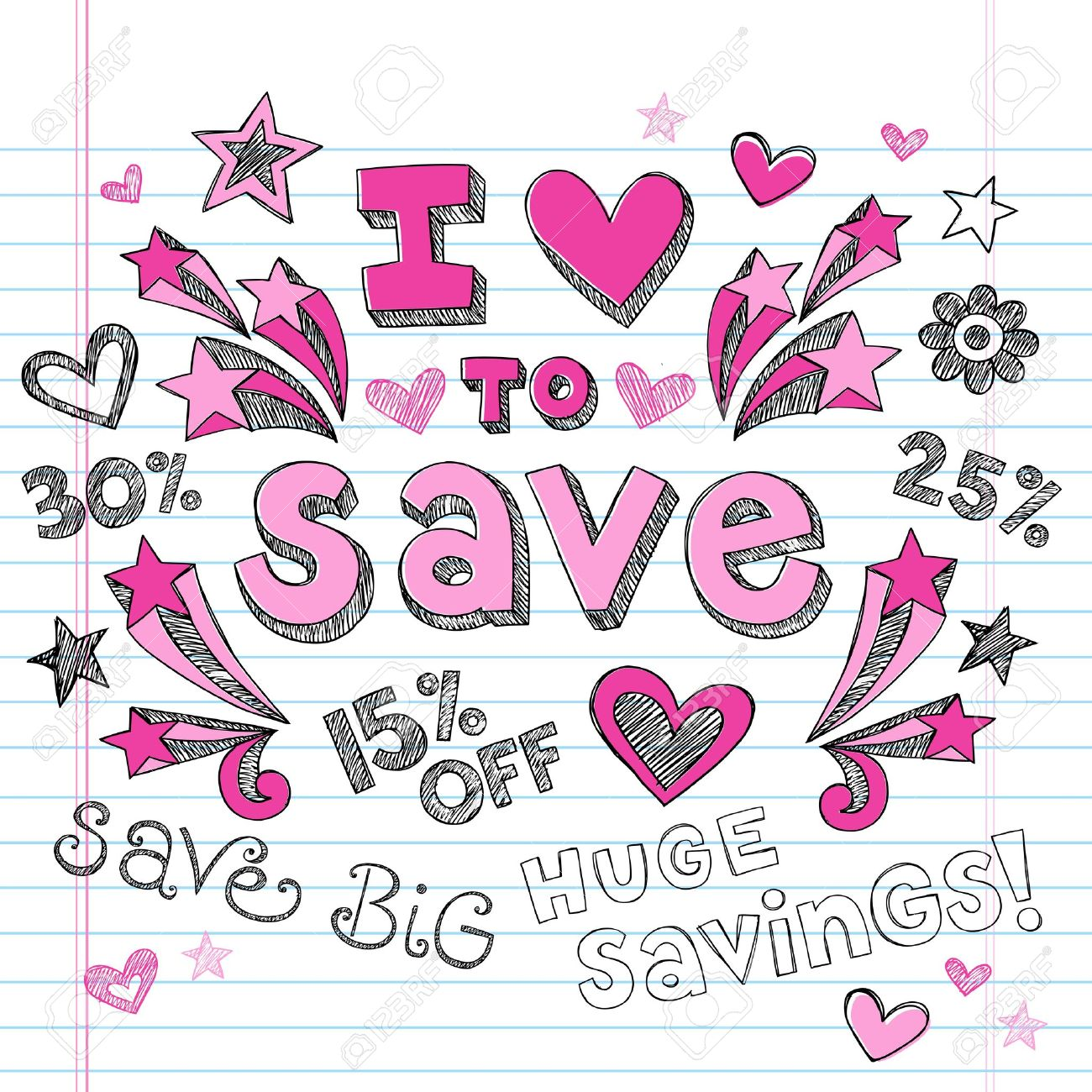 I Love to Save Sketchy Notebook Doodles Shopping Discount - Hand-Drawn Illustration Design Elements on Lined Sketchbook Paper Background Stock Vector - 14733855