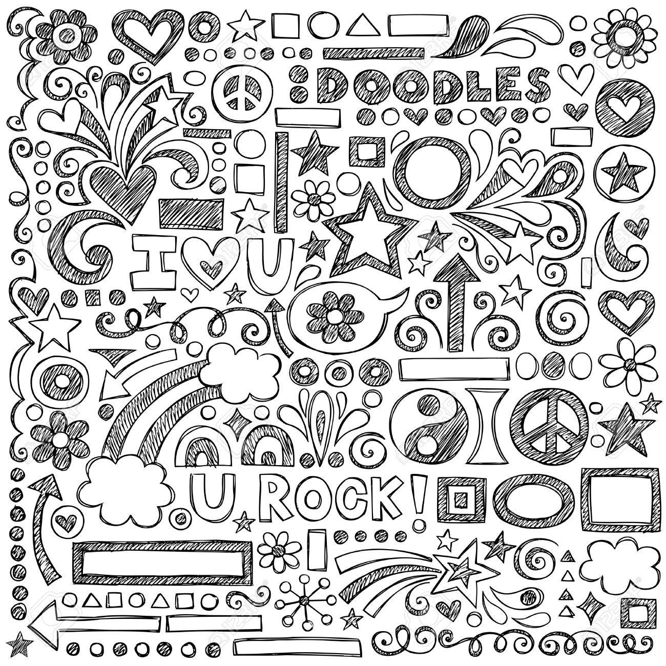 Back to School Sketchy Notebook Doodles with Flowers, Shapes, Hearts, Stars, Arrows and More Stock Vector - 15520645