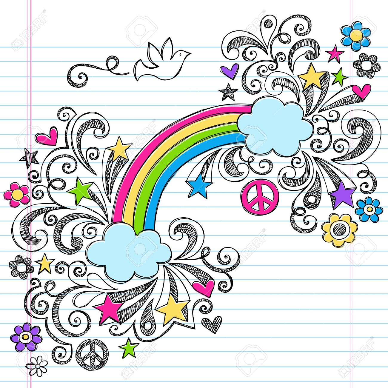 Rainbow and Peace Dove Sketchy Back to School Notebook Doodles Hand-Drawn Vector Illustration Design Element on Lined Sketchbook Paper Background Stock Vector - 15412234