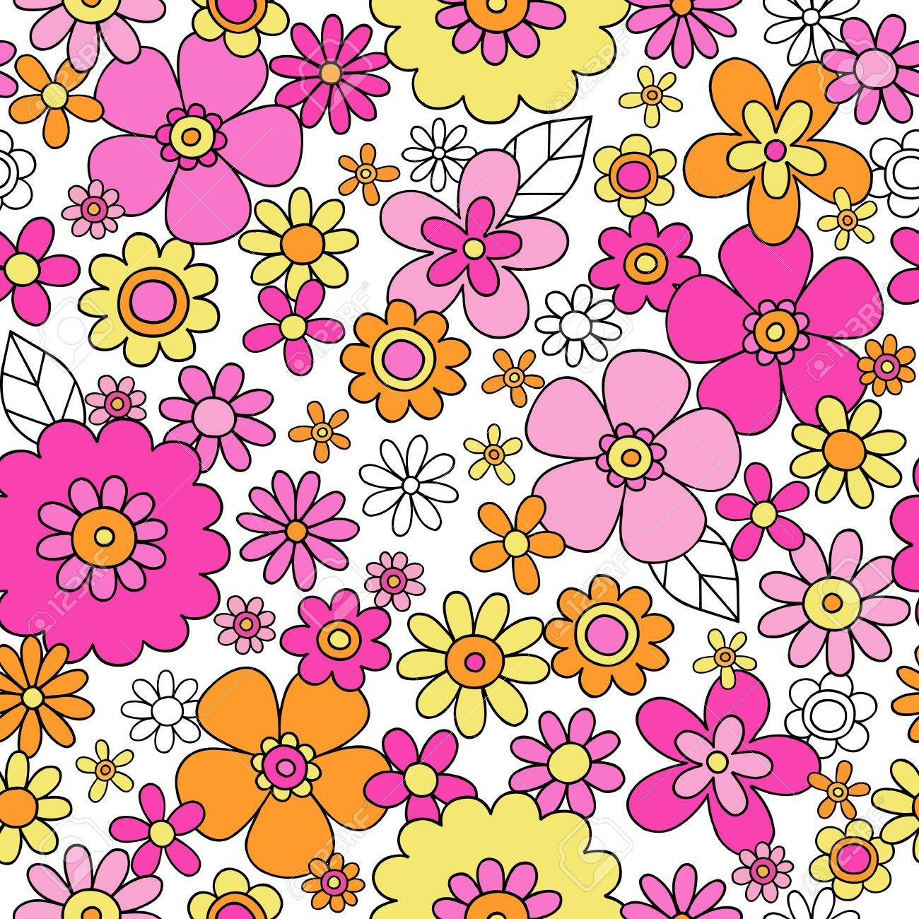 Flowers Seamless Pattern Groovy Hand-Drawn Doodle Vector Illustration Design Stock Vector - 15559582