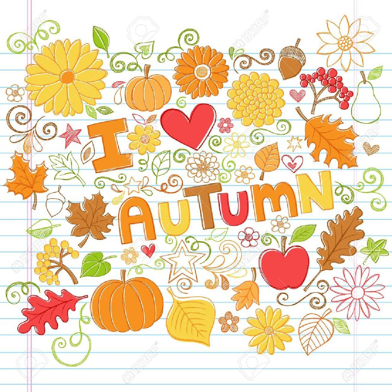 秋カボチャ、葉、そして秋花手描きイラスト デザイン要素に並ぶ