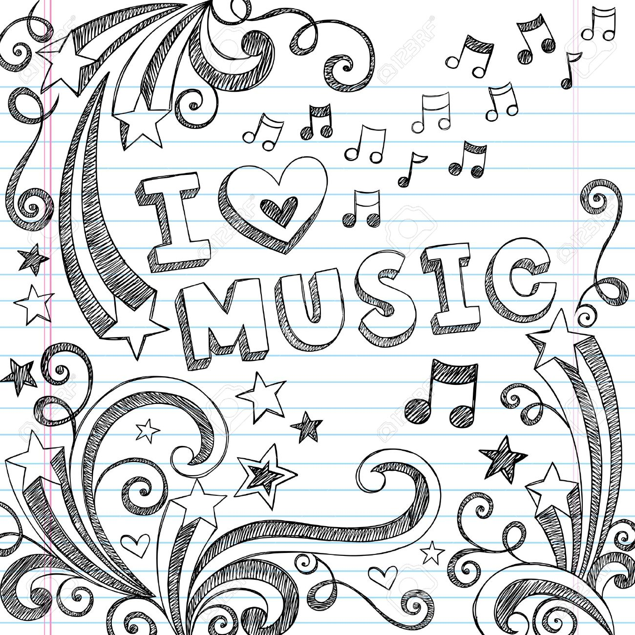 I Love Music Back to School Sketchy Notebook Doodles with Music Notes and Swirls- Hand-Drawn Vector Illustration Design Elements on Lined Sketchbook Paper Background Stock Vector - 15675558