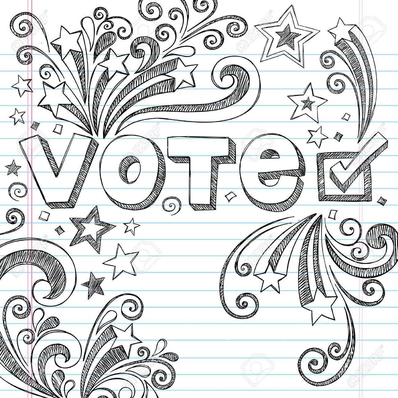Vote Presidential Election Back to School Style Sketchy Notebook Doodles with Stars and Swirls- Hand-Drawn  Illustration Design Elements on Lined Sketchbook Paper Background Stock Vector - 15675556