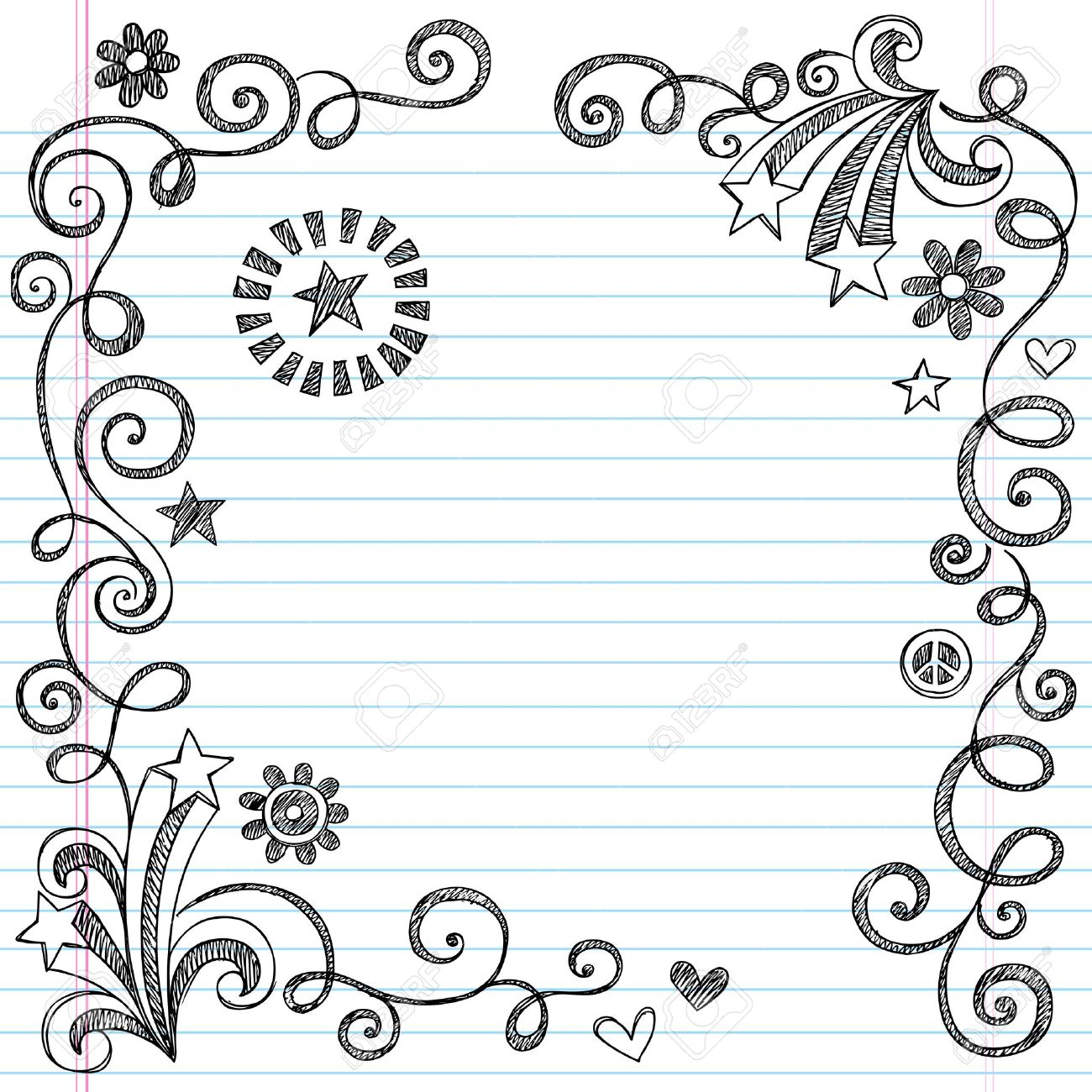 Back To School Sketchy Notebook Doodle Border With Stars And – Lined Border Paper