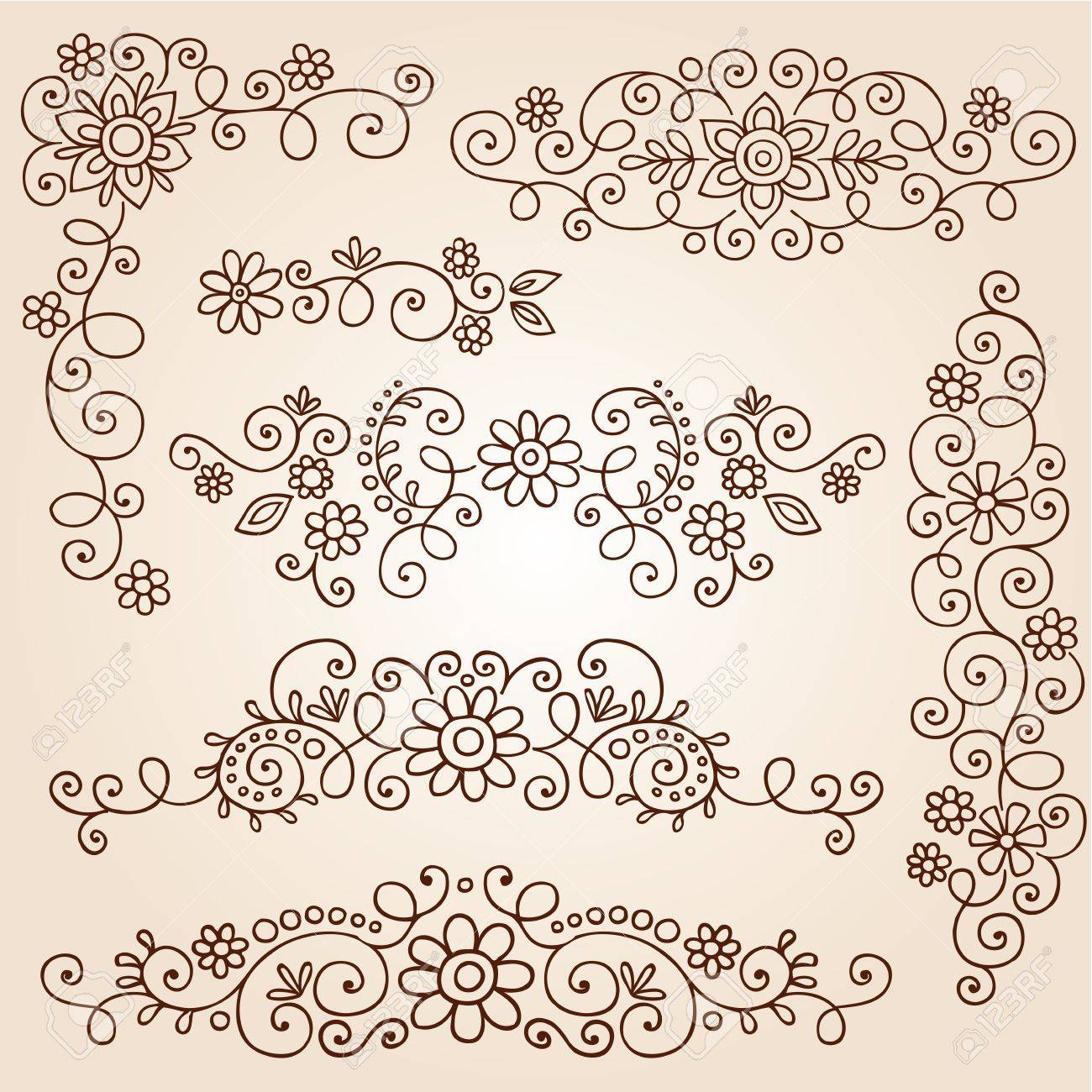 Henna Paisley Vines And Flowers Mehndi Tattoo Doodles Royalty Free