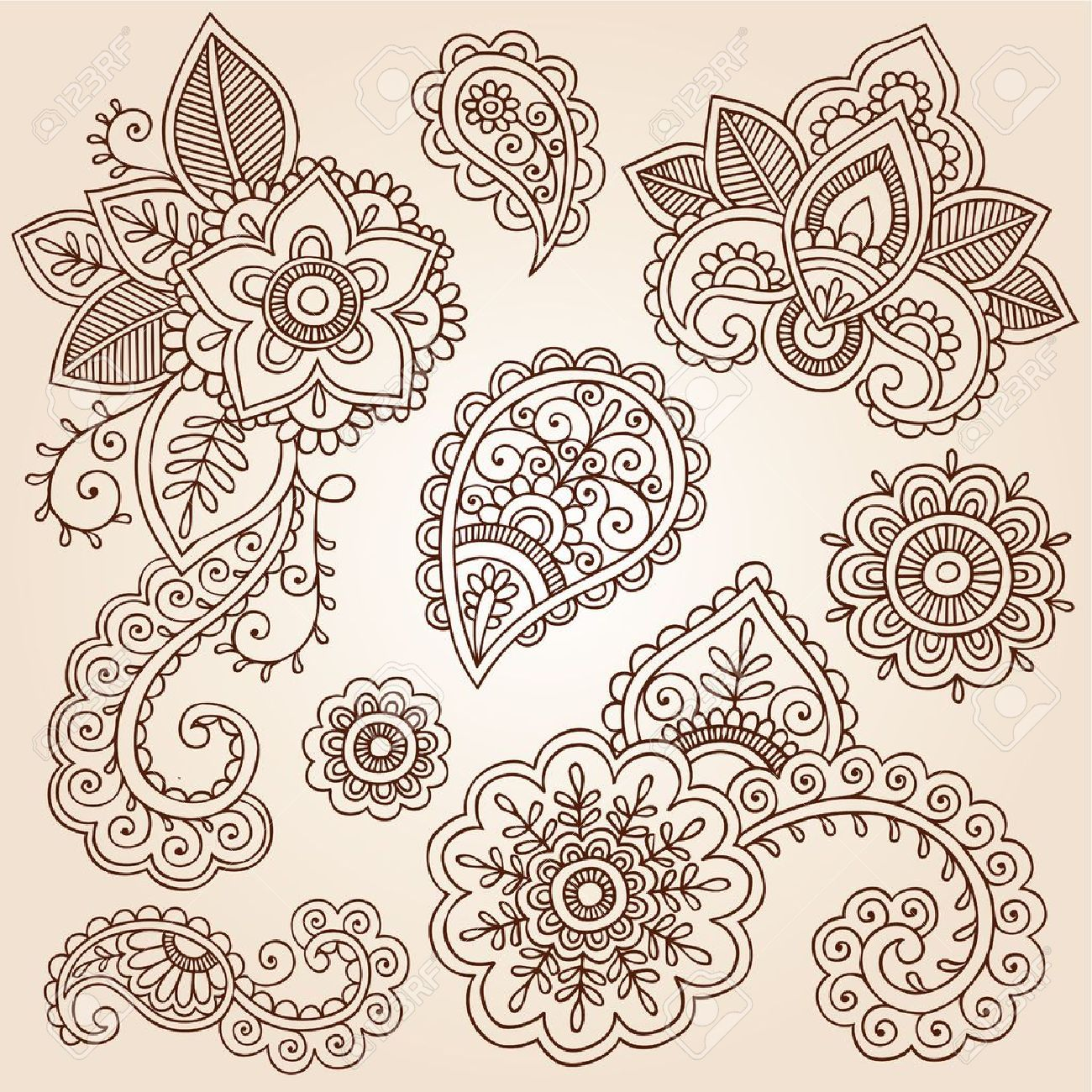 henna flowers and paisley mehndi tattoo doodles set royalty free