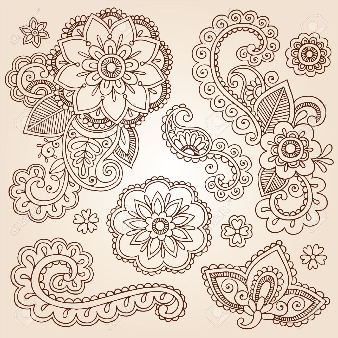 Henna Paisley Mandala Flowers Mehndi Tattoo Doodles Set Stock Vector - 15940000