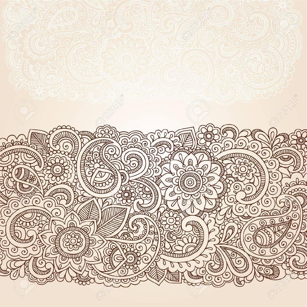 Henna Flowers and Paisley Mehndi Tattoo Edge Design Doodle Stock Vector - 16693321