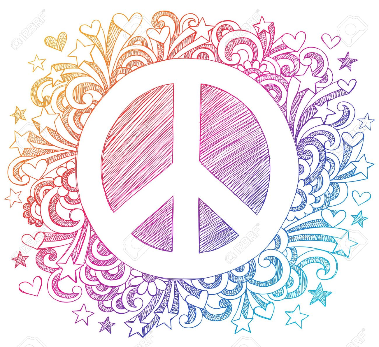 Peace Sign Sketchy Stock Vector - 16693323